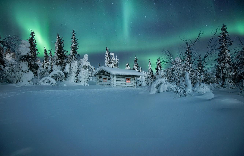 Photo wallpaper winter, snow, trees, hut, Northern lights, the snow, hut, Finland, Andrey Bazanov