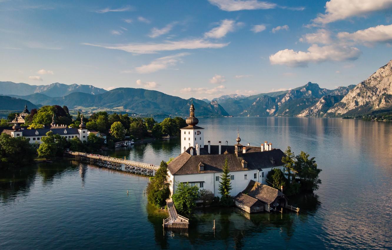 Photo wallpaper mountains, island, Austria, Church, pond, lake Traunsee