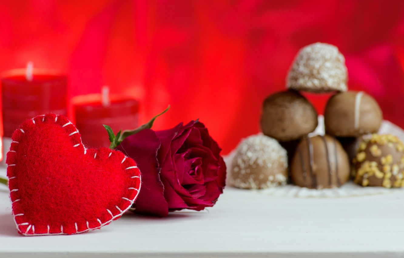 Photo wallpaper love, roses, candles, candy, red, red, love, flowers, romantic, hearts, valentine's day, roses