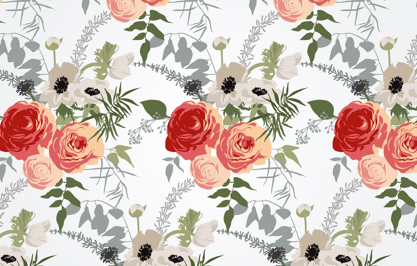 Photo wallpaper flowers, background, texture, pattern, Floral