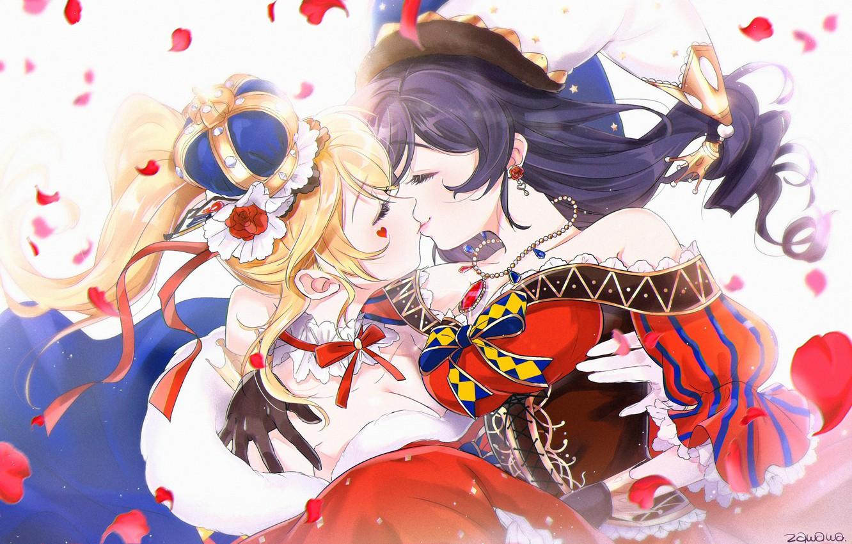 Wallpaper Girls Kiss Princess Prince Love Live School