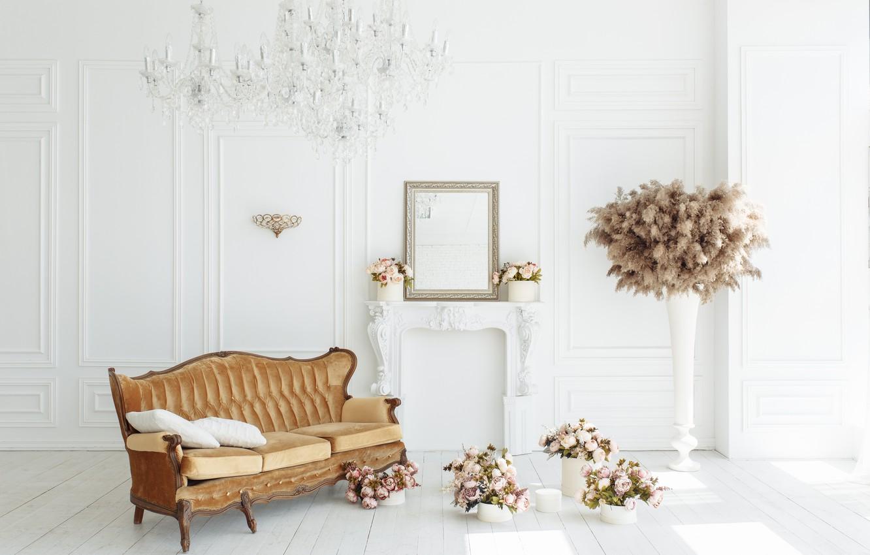 Photo wallpaper flowers, room, sofa, fireplace, vintage, design, pink, flowers, peonies, room, interior, sofa, fireplace, peonies, provance