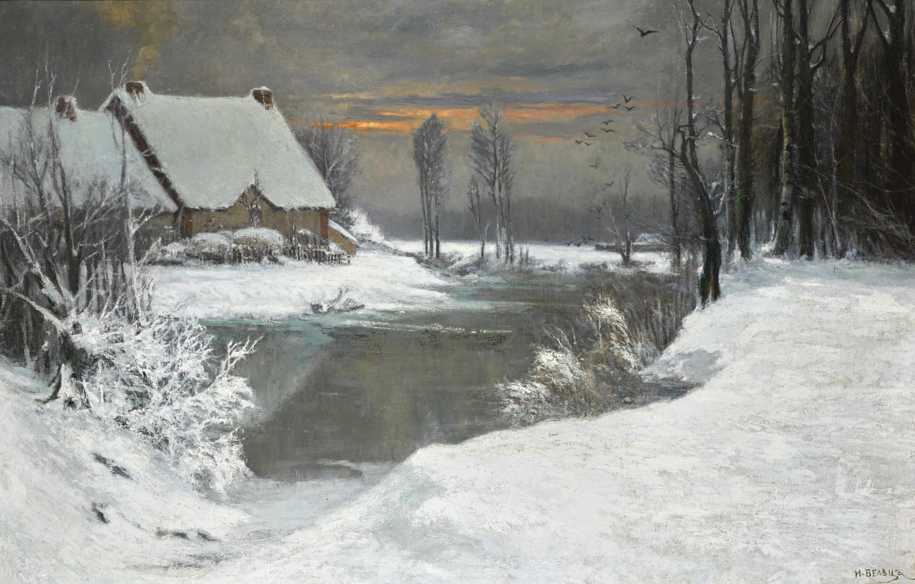 Photo wallpaper snow, trees, sunset, birds, house, river, the bushes, WINTER LANDSCAPE, Attributed to Ivan Avgustovich Veltz