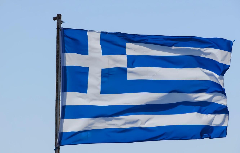 Photo wallpaper cross, Greece, flag, cross, Greece, fon, flag, greece, Greece, the flagpole