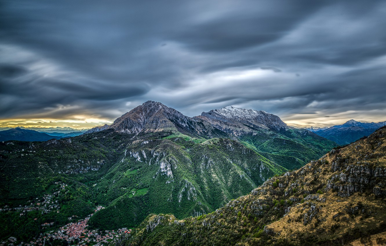 Photo wallpaper the sky, clouds, trees, mountains, rocks, France, height, home, the evening, valley, panorama, gorge, the …