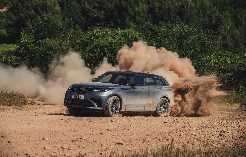 Photo wallpaper dust, Land Rover, Range Rover, primer, SUV, V8, Velar, 2019, Dynamic Edition, SV Autobiography