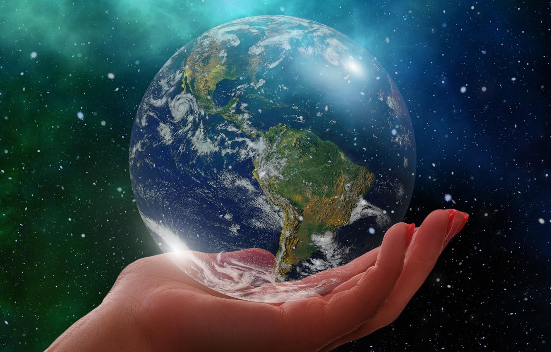 Photo wallpaper planet, Earth, palm