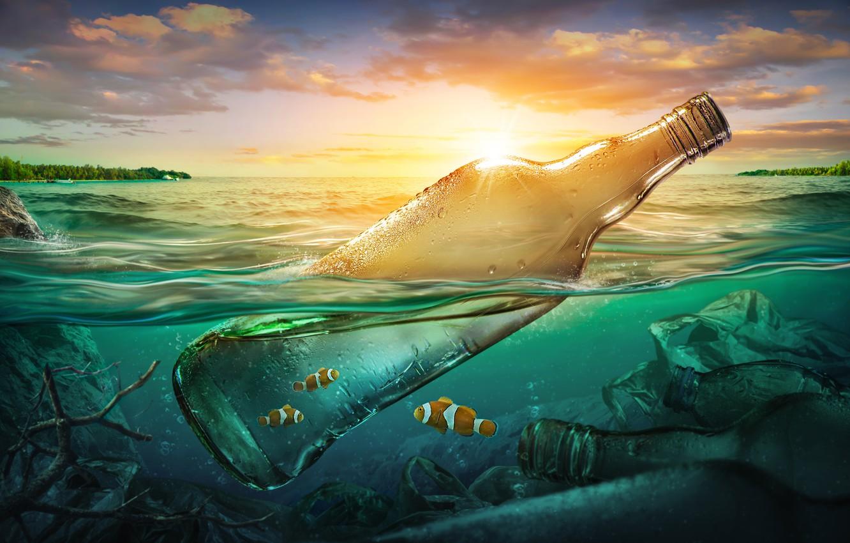 Photo wallpaper sea, fish, garbage, the ocean, bottle, pollution, sea, ocean, fish, bottle