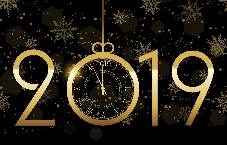 Photo wallpaper gold, New Year, figures, golden, black background, black, background, New Year, Happy, sparkle, 2019