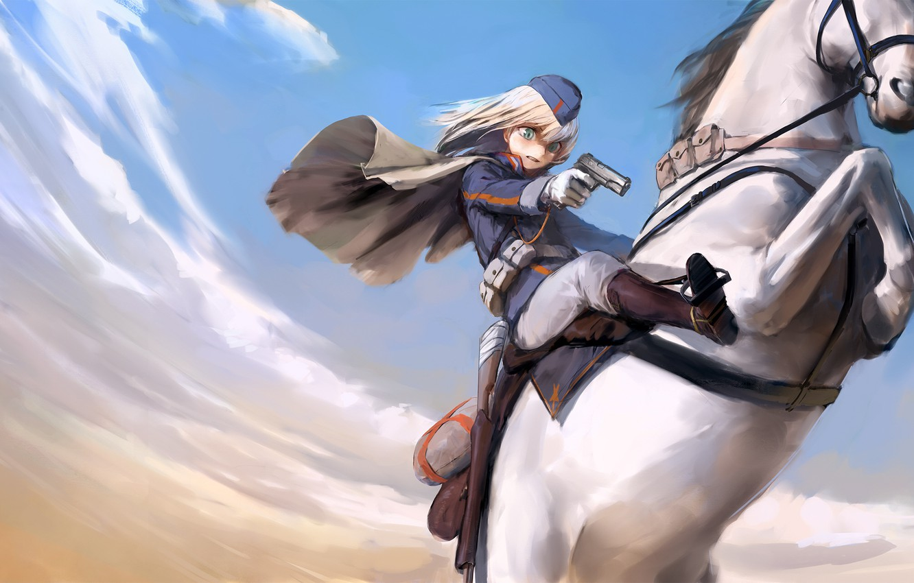 Photo wallpaper girl, weapons, horse