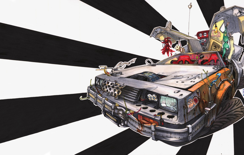 Photo wallpaper Figure, Machine, DeLorean DMC-12, Art, DMC-12, Illustration, Delorean, Back to the future, Transport & Vehicles, …