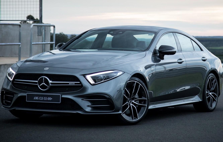 Photo wallpaper car, machine, grey, lights, Mercedes-Benz, Mercedes, car, drives, front, side, AMG, grey, Mercedes-AMG CLS 53, …