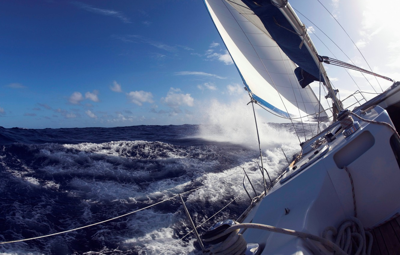 Photo wallpaper sea, wave, storm, yacht, sail