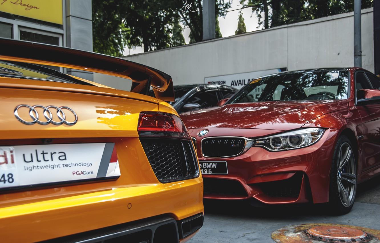 Photo wallpaper Audi, BMW, red, yellow, parking