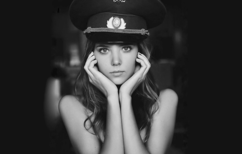 Wallpaper look, girl, pose, cap, Katya Clover images for desktop