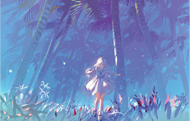 Photo wallpaper palm trees, jungle, girl