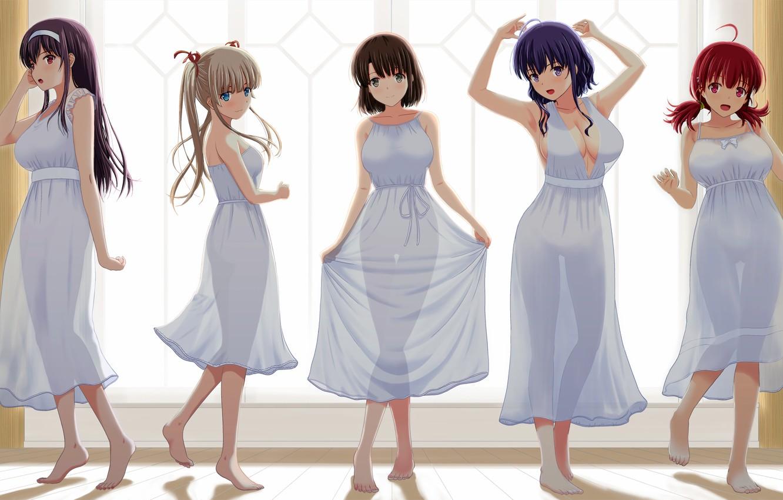 Photo wallpaper girl, sexy, dress, boobs, anime, beautiful, pretty, breasts, attractive, handsome, kasumigaoka utaha, catholic megumi, transparency, …