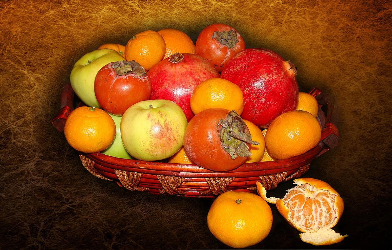 Photo wallpaper apples, fruit, still life, garnet, tangerines, persimmon, author's photo by Elena Anikina