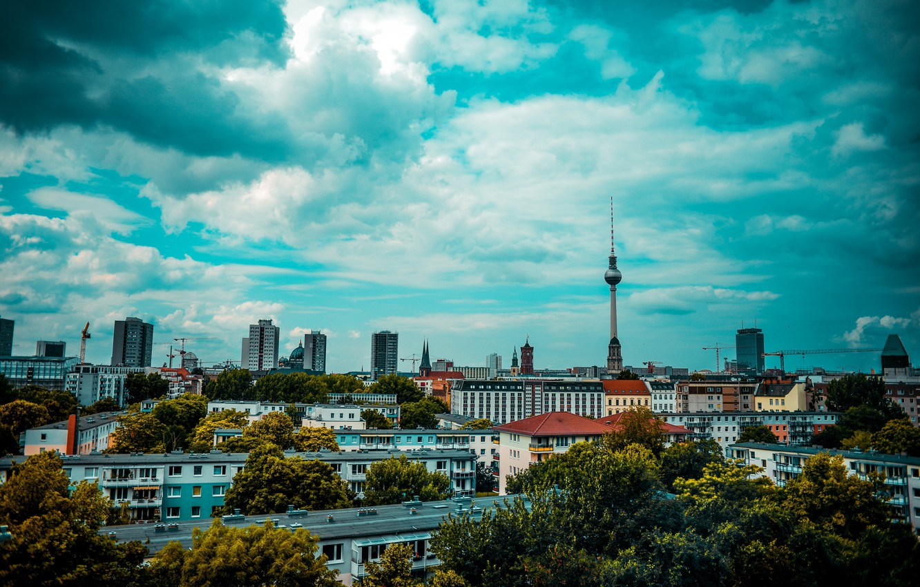 Photo wallpaper the sky, clouds, Germany, Berlin