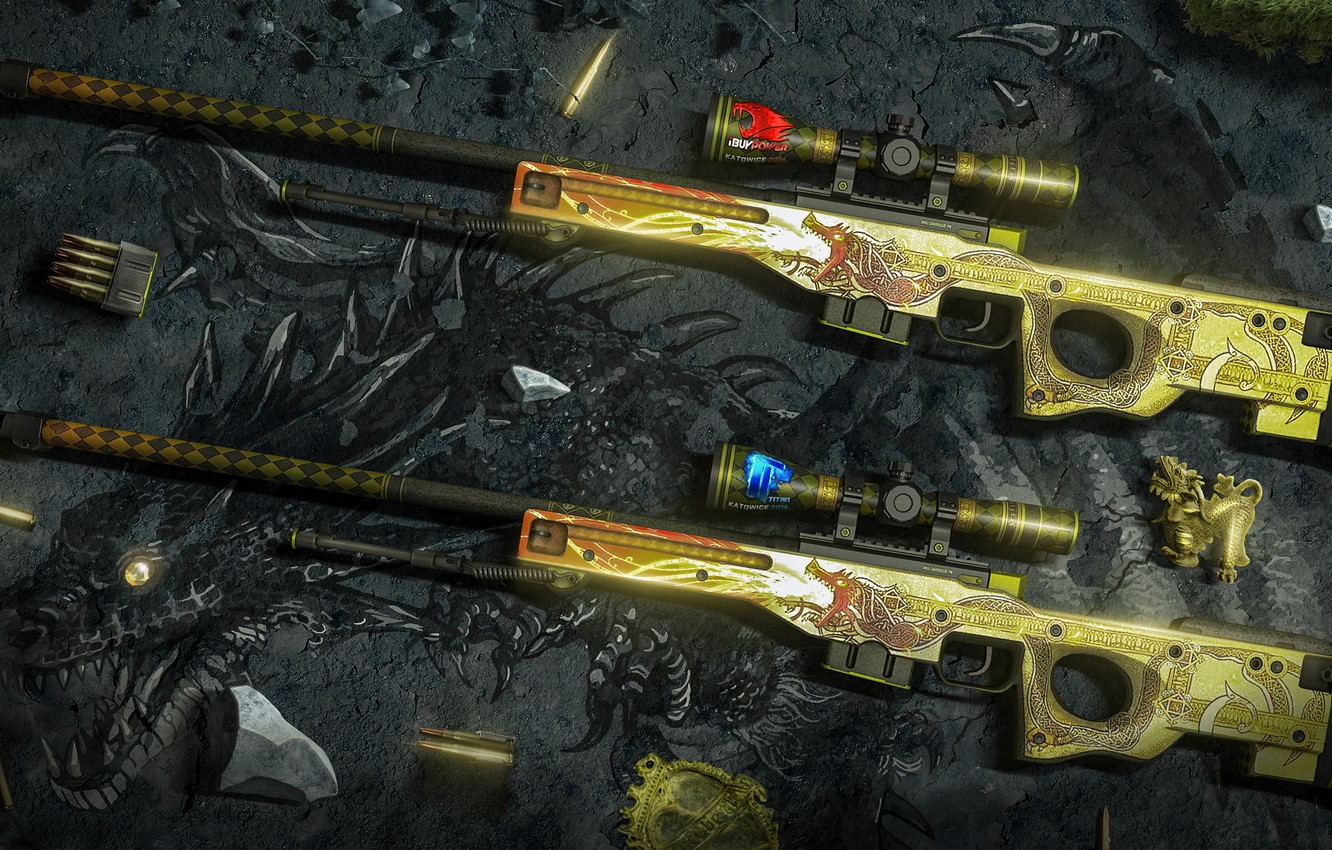 Wallpaper wallpaper, art, csgo, awp, titan, dragon lore