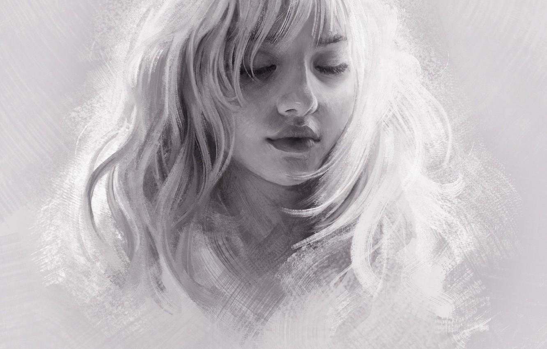 Photo wallpaper Girl, Figure, Blonde, Girl, Hair, Art, Art, Blonde, Hair, Artist, Artist, Mandy Jurgens, Closed eyes, …