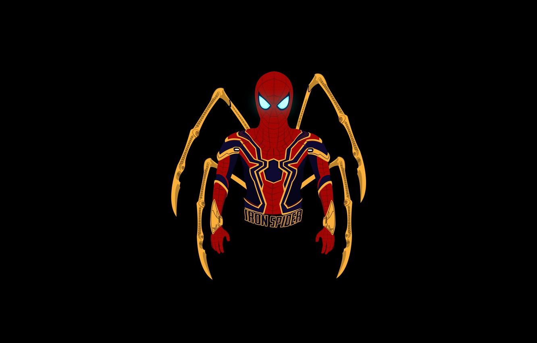 Photo wallpaper minimal, Marvel Comics, Spider-Man, dark background, Iron Spider, HD, iron spider