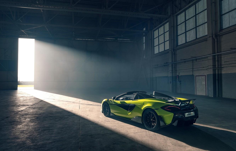 Photo wallpaper machine, style, hangar, lights, McLaren 600LT Spider