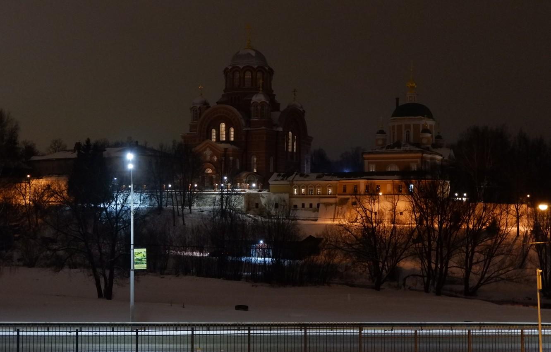 Photo wallpaper winter, snow, night, river, lights, the monastery, women's