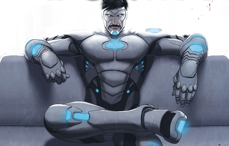 Photo wallpaper Sofa, Costume, Comic, Armor, Iron man, Sitting, Iron Man, Marvel, Marvel Comics, Comics, Tony Stark, …