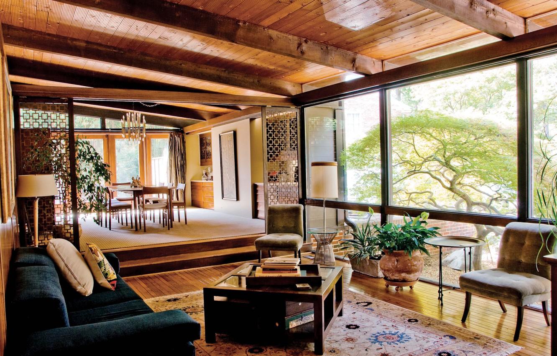 Wallpaper interior, living room, dining room, mid-century ...