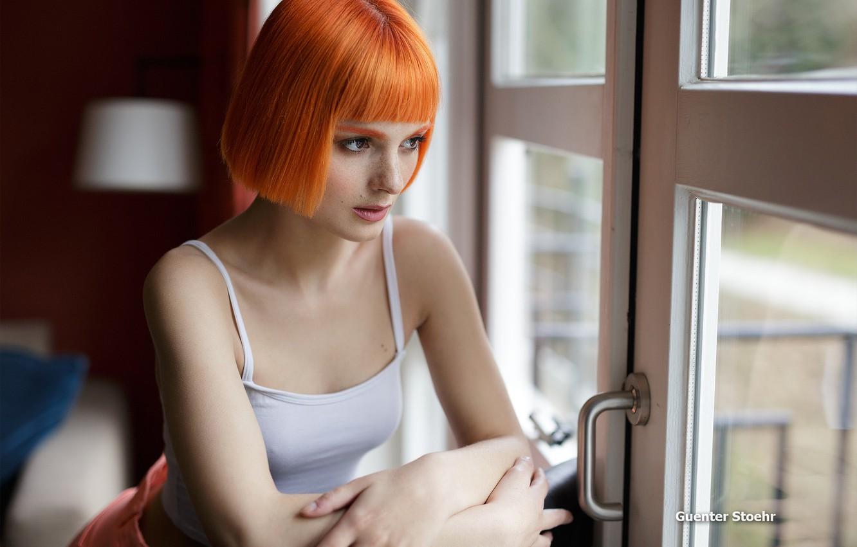 Photo wallpaper girl, pose, model, shorts, portrait, makeup, Mike, hairstyle, chair, beautiful, sitting, redhead, bokeh, window, Guenter …
