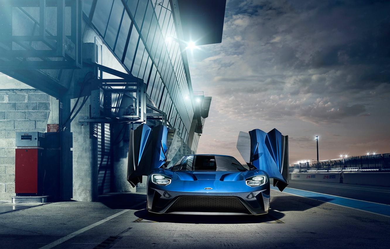 Photo wallpaper Ford, Car, Blue, Supercars, GT, Sor