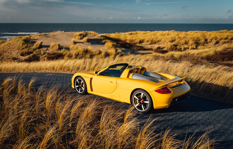 Photo wallpaper beach, yellow, supercar, Porsche Carrera GT