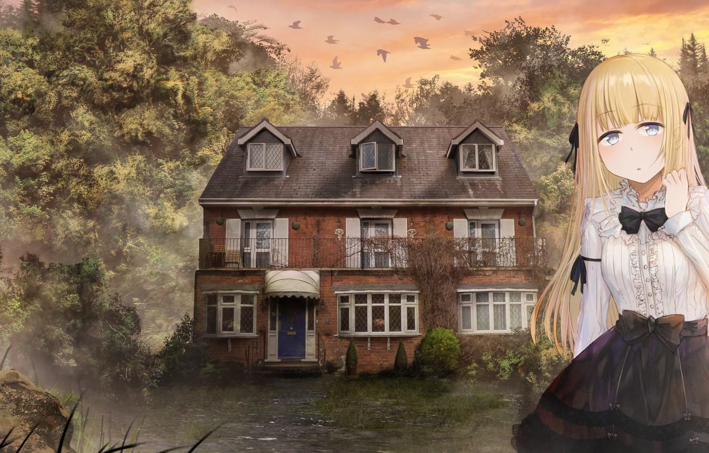 Photo wallpaper landscape, house, girl, mansion