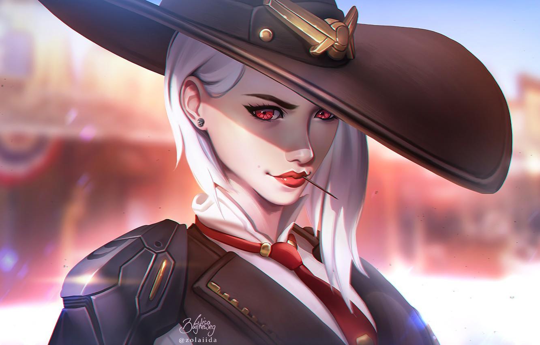 Photo wallpaper Girl, Look, Lips, Face, Hat, Blizzard, Art, Game, Illustration, Ashe, Sheriff, Overwatch, Game Art, Lisa …