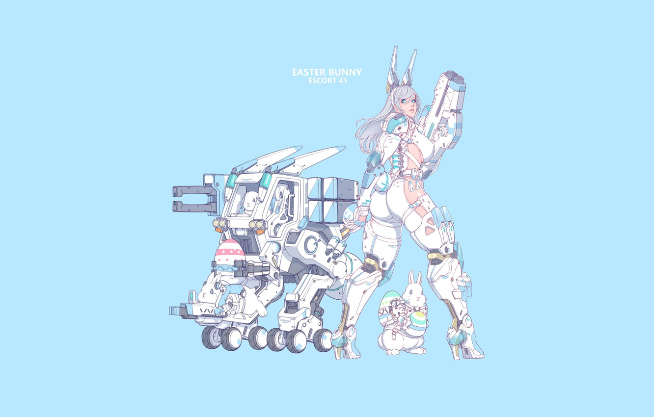 Photo wallpaper Girl, Gun, Sexy, Art, Minimalism, Characters, Cyber, Bunny, Bunnies, Ren Wei Pan, Easter Bunny Escort …