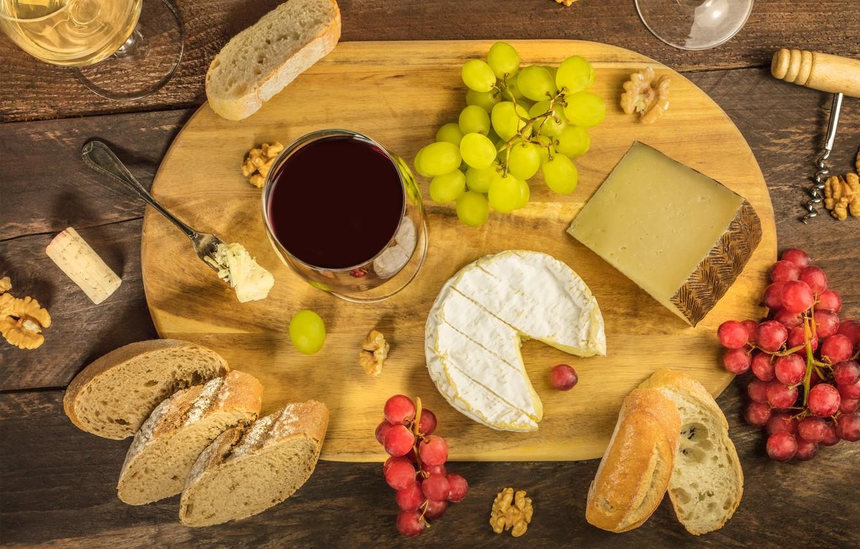 Photo wallpaper table, wine, cheese, walnut, glasses, bread, grapes, tube, Board, plug, corkscrew, walnut