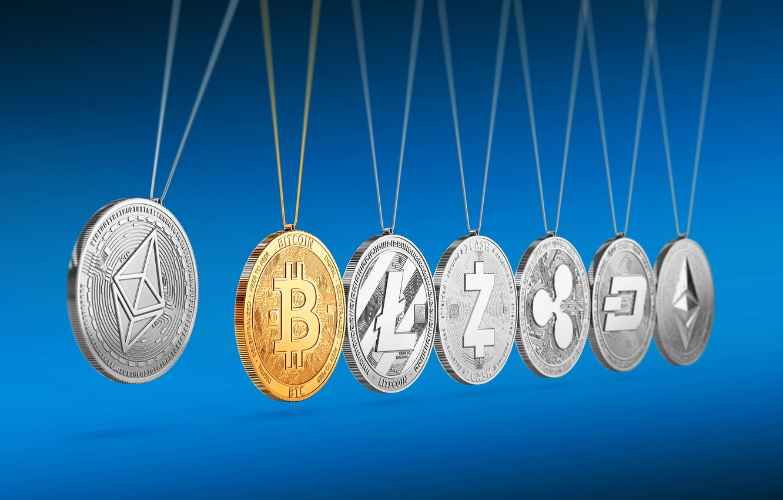 Photo wallpaper blur, shadows, blue, fon, coins, dash, etc, bitcoin, ripple, eth, btc, xrp, litecoin, ltc, ethereum, ...