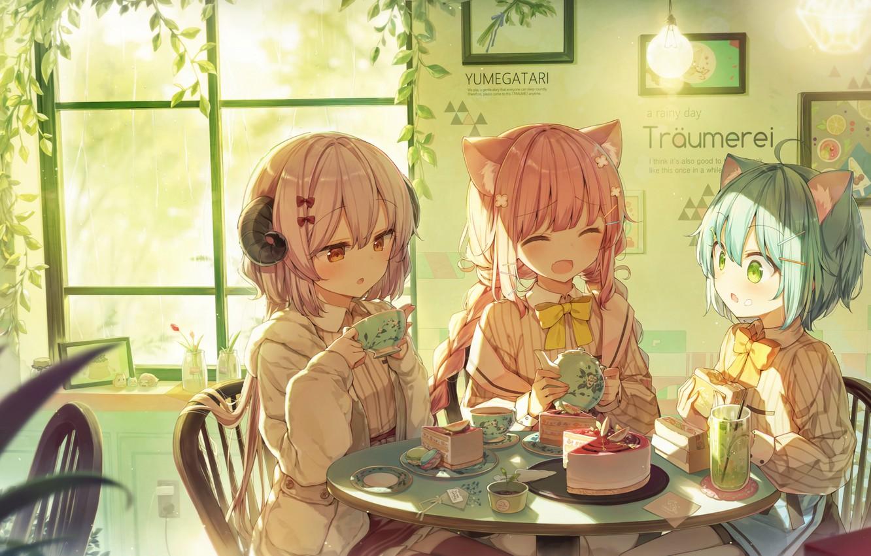 Photo wallpaper girls, fantasy, the tea party