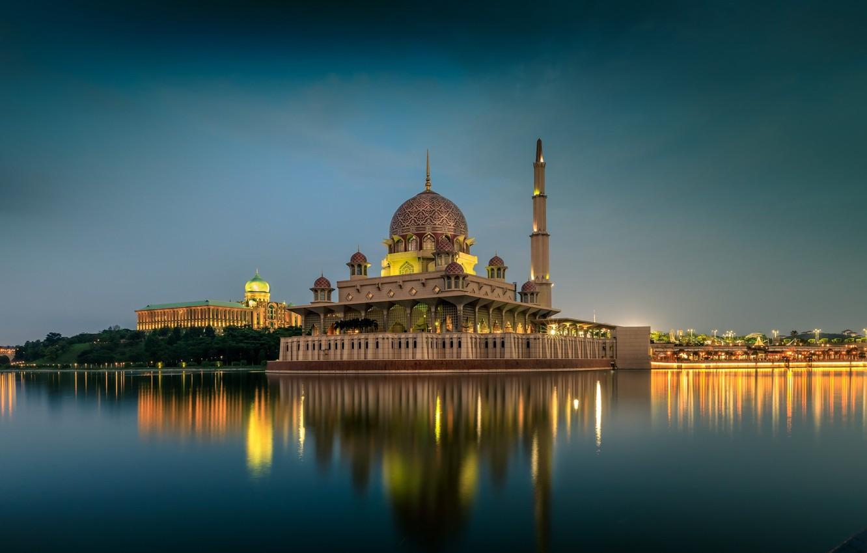 Photo wallpaper lake, temple, Malaysia, Kuala Lumpur