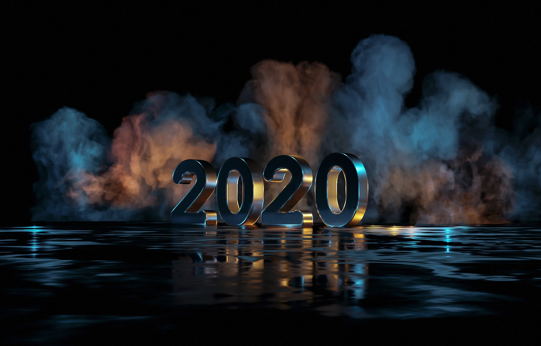 Photo wallpaper reflection, smoke, Christmas, new year, 2020, new year 2020, new year 2020