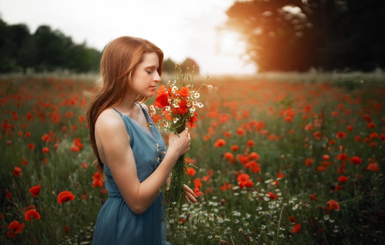 Photo wallpaper summer, girl, flowers, nature