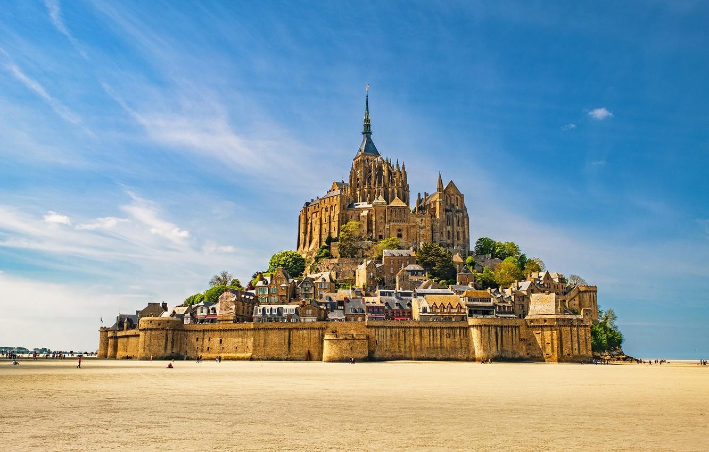 Photo wallpaper castle, France, Mont-Saint-Michel