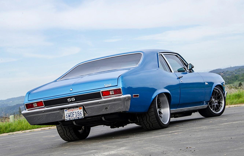 Photo wallpaper Chevrolet, Blue, Nova, Muscle car, Pro Touring