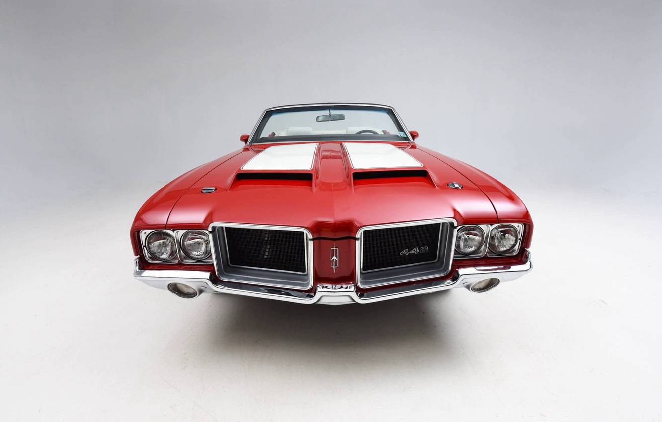 Photo wallpaper Red, Classic, Muscle car, Convertible, Vehicle, Oldsmobile 442
