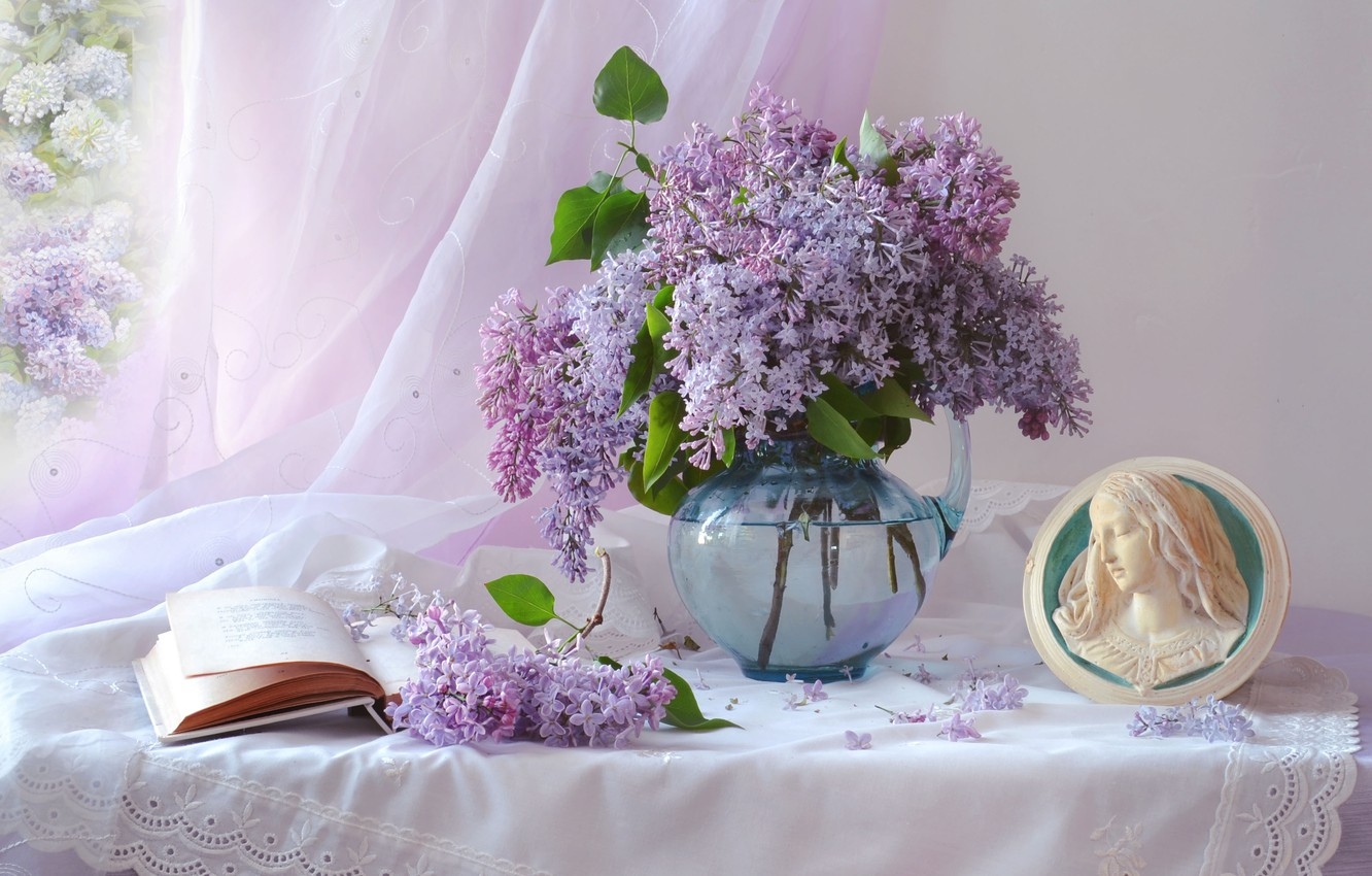 Photo wallpaper branches, portrait, book, pitcher, still life, curtain, lilac, Valentina Fencing