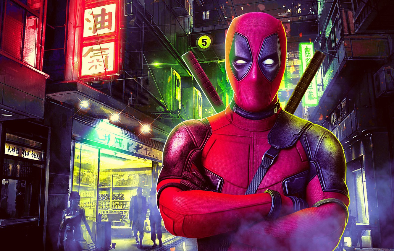 Photo wallpaper night, the city, lights, fiction, street, home, mask, art, costume, characters, signs, swords, poster, Deadpool, …