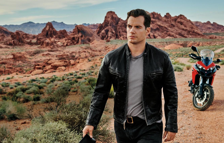 Photo wallpaper rocks, jacket, motorcycle, male, Henry Cavill
