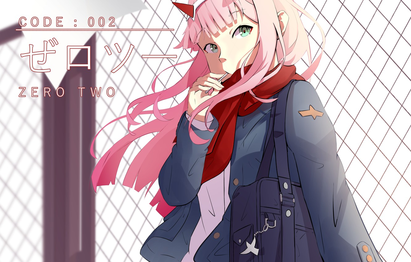 Photo wallpaper girl, mesh, 002, Darling In The Frankxx, Cute in France, Zero Two