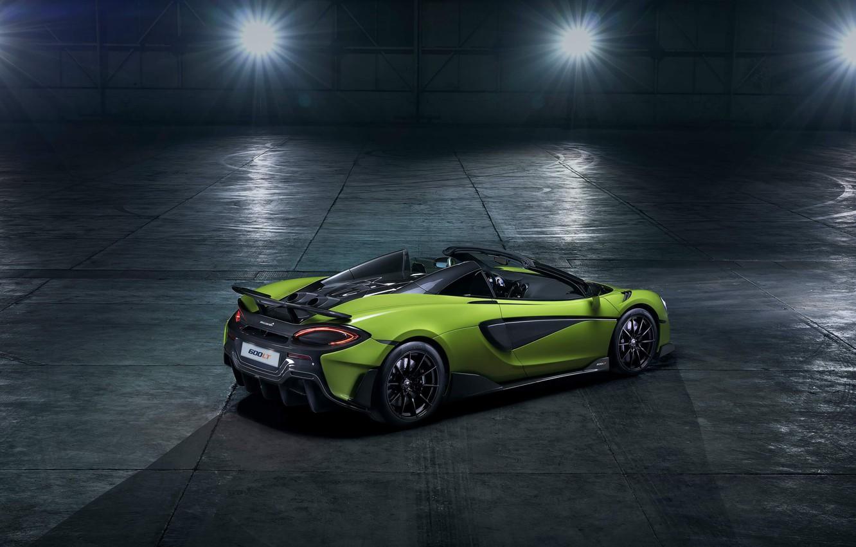 Photo wallpaper machine, light, style, hangar, lights, Roadster, sports car, drives, McLaren 600LT Spider